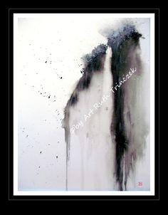 Aquarell  Watercolour Original  Wasserfall  von ArtRuthTrinczek