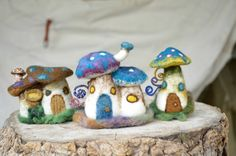 Magic poisonous mushroom house in felt by by Harthicune on Etsy, $48.00