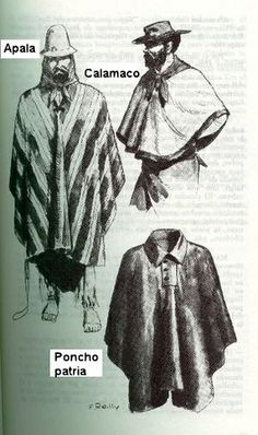 Ponchos argentinos American War, American History, Look Festival, Rio Grande Do Sul, Old Clothes, High Fantasy, Folk Costume, Illustrations And Posters, Western Art