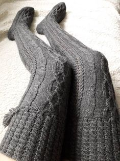 Wool Tights, Wool Socks, Cashmere Leggings, Knitted Booties, Crochet Slippers, Baby Booties, Cable Knit Socks, Knitting Socks, Thigh High Socks