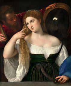 Mujer con espejo. Tiziano
