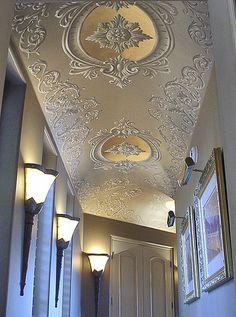 Scrollwork on hallway ceiling by williamthe.artist, via Flickr