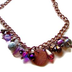 Bohemian Necklace Copper Chain with Mixed Glass, Gemstone, and Crystal Charms Boho Chic Jewelry by initialcolor, $42.00