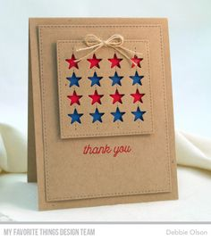 Stitched Star Grid Die-namics, Inside & Out Stitched Square STAX Die-namics, Blueprints 29 Die-namics, Love Is in the Mail Stamp Set - Debbie Olson Birthday Cards For Him, Masculine Birthday Cards, Masculine Cards, American Card, Military Cards, Star Cards, Beautiful Handmade Cards, Get Well Cards, Greeting Cards Handmade