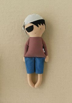 Fabric Doll Rag Doll  Pirate with Striped Shirt  by rovingovine, $35.00