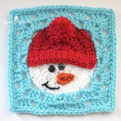 Crochet Snowman Square