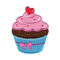 Cupcake Blue/Pink Iron-On Applique Patch