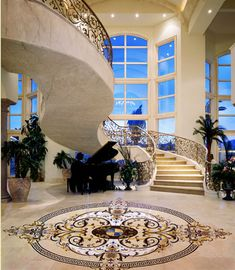 Custom stone medallions from Creative Edge – the natural stone decorative flooring – Decorating Foyer Luxury Life, Luxury Living, Luxury Homes, Floor Design, House Design, Grand Foyer, Foyer Decorating, Staircase Design, Marble Staircase