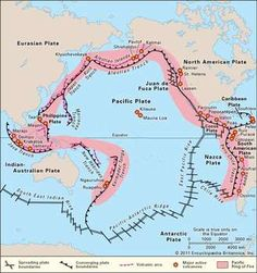 Map of the Pacific Ocean, showing tectonic plate boundaries and locations of major volcanoes, most of which lie on the boundary of the Pacific plate. Geography Map, Physical Geography, Geography Lessons, World Geography, Economic Geography, Pacific Ocean, North American Plate, Earth Science Lessons, Science