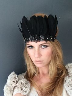 Black Feather Indian Chief Headpiece  by Miss S-a Headbands