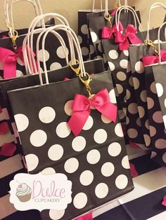 Favor bags at a Kate Spade birthday party! See more party ideas at CatchMyParty.com!