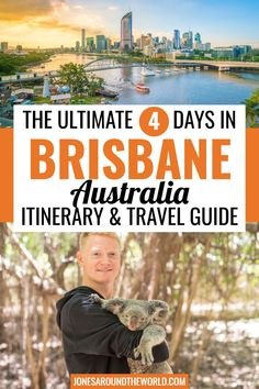 Planning a trip and looking for the best Brisbane itinerary? I've put together a fun and detailed itinerary for what to do, places to visit, tour ideas, and much more! It's the capital city of the Australian state of Queensland, where the weather is mild to hot year-round, the locals are friendly, and the outdoor lifestyle unparalleled. Spending 4 days in Brisbane, Australia is easy, thanks to an epic range of activities to do, sights to see, natural wonders to take in and beaches to swim at. Brisbane River, Brisbane City, Coast Australia, Queensland Australia, Australia Travel, Travel Expert, Travel Tips, Visit Tour, Things To Do In Brisbane