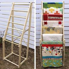 Items op Etsy die op Free standing, tall quilt rack, made of hard wood (poplar) with seven 1 diameter rungs - dimensions: 24 wide x deep x 65 high lijken Quilt Studio, Colchas Quilting, Quilting Projects, Diy Quilting Room, Quilt Hangers, Quilt Racks, Quilt Ladder, Quilt Storage, Blanket Storage