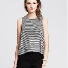 NWT Banana Republic Striped Tank Perfect for a night out! Slightly cropped. Black and white stripes. Banana Republic Tops Tank Tops