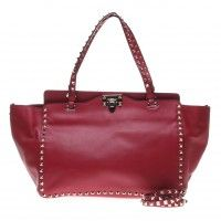 Valentino Maroon Calfskin with Rivet Rockstud Medium Tote Bag with Shoulder Strap