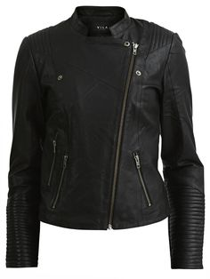 Vila – Short leather jacket in black