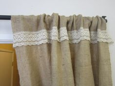 shabby chic burlap curtains | ... Shabby chic/Home and Living/Back to School/ laced burlap curtains