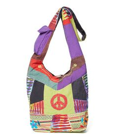 This Purple & Green Patchwork Boho Bag is perfect! #zulilyfinds