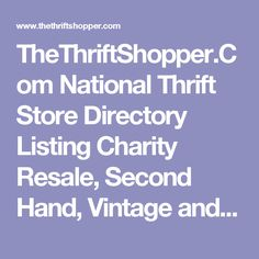 9ab8d12ed610 Com National Thrift Store Directory Listing Charity Resale