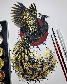 Animal Drawings, Art Drawings, Bild Tattoos, Illustration Vector, Mythical Creatures Art, Ink Art, Graphic, Japanese Art, Art Sketches