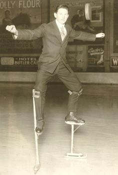 "In addition to coaching and managing the Metropolitans, Muldoon traveled the country, giving exhibitions on his ""stilt skates."" / David Eskenazi Collection"