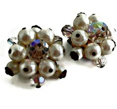 Crystal Pearl Earrings Cluster Bead Clip on by EclecticVintager