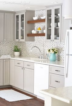 Gray + White Kitchen -Formica counter tops in Carrara Bianco with the Ideal Edge.