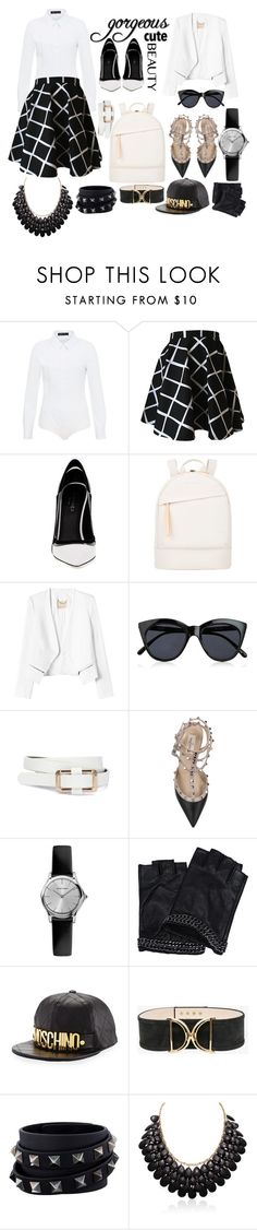 """""""Black & White school scholar"""" by tessforman ❤ liked on Polyvore featuring Hallhuber, Greymer, Want Les Essentiels de la Vie, Rebecca Taylor, Le Specs, Valentino, Karl Lagerfeld, Moschino and Balmain"""