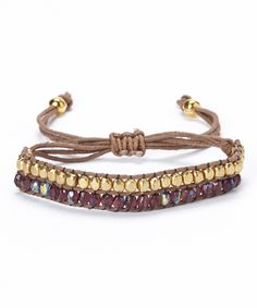 Gold & Purple Iridescent Beaded Cord Bracelet | Daily deals for moms, babies and kids