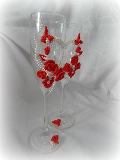Свадебные бокалы М3 белый с красным