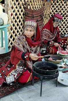 Turkmen women wearing traditional dress at market in Ashgabat