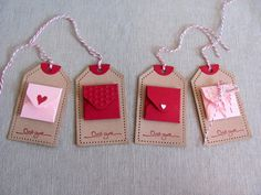 Valentine's Day Altered Tag With Mini Envelopes Valentine Day Cards, Valentine Gifts, Tarjetas Diy, Diy And Crafts, Paper Crafts, Handmade Gift Tags, Card Tags, Diy Cards, Note Cards