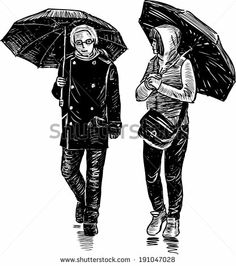 pair under umbrellas - stock vector