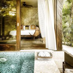 """Be Tulum: a hotel where the phrase """"race you to the pool"""" is rendered obsolete. . #BeTulum #Tulum #Mexico"""