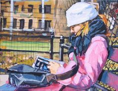 Book lover Art, Gift for Reader, Woman Reading in Park, Figurative Painting by Gwen Meyerson