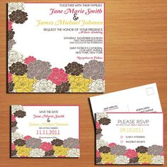 Roses Floral Modern Wedding Collection / Invitation / RSVP / Save the Date Postcard PRINTABLE / DIY