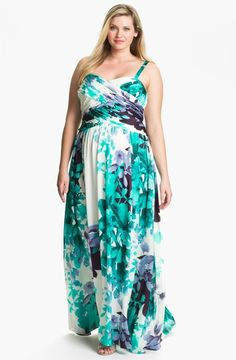 Very feminine dress by Adrianna Papell. Long plus size dress.
