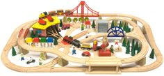wooden train setup | ... wooden railway train sets and accessories wooden train sets bigjigs