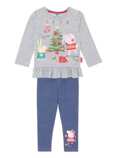 Make a fun addition to her winter collection with this Christmas Peppa Pig set, which features a festive frilly hem tee and denim look leggings. Girls grey character Christmas Peppa set Pure cotton Puff shoulders Frill hem Long sleeve Interactive applique design Sequin details Festive design Keep away from fire
