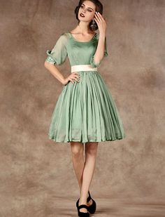 1950s Retro Style Elegant Swing Dress