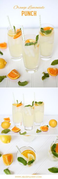Delicious and Simple Orange Lemonade Punch Recipe. Make a cocktail or mocktail for a perfect summer drink! Great idea for essential oils by A Blissful Nest