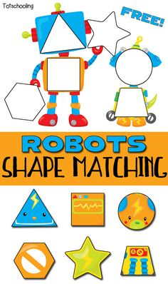 FREE printable Robot themed puzzle for toddlers to match & learn shapes. Cute toddler math activity!