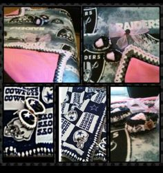 Raiders and cowboys football or any other teams ordered custome homemade silk blanket with crochet edges buy on Etsy or my Facebook shop at  https://m.facebook.com/CreateArt2love      https://www.etsy.com/shop/createArt2love