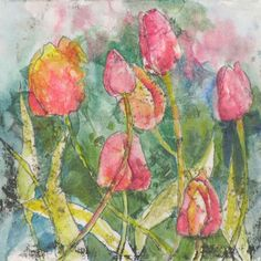 Monoprint with collage. Watercolor Sketch, Floral Watercolor, Watercolor Paintings, Decorative Bird Houses, Birdhouse, Watercolours, Tulips, Decorating Ideas, Collage