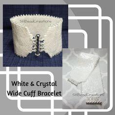 Pearl White Bracelet, Wedding Jewelry, Peyote Bracelet, Cube Beads, Crystal Picot Edging, Wide Bracelet, Long Bracelet, Four Strand Clasp by SHBeadCreations on Etsy