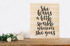 She Leaves A Little Sparkle Wherever She Goes wooden sign nursery wall decor girls kids room nursery decor rustic sign print quote Rustic Nursery Decor, Nursery Wall Decor, Rustic Signs, Wooden Signs, Nursery Signs, Sign Printing, Quote Prints, Kids Room, Sparkle