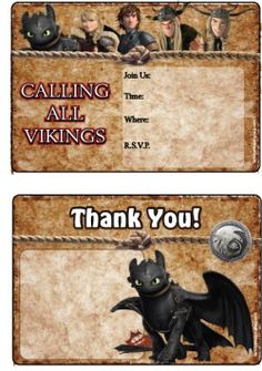 printable how to train your dragons invitations and thank you cards