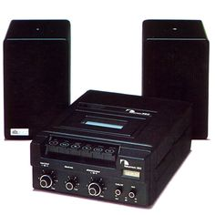 Nakamichi 350 was a high end cassette RECORDER for automobile use was the equal of other brands' high end home cassette decks. Shown with matching A/D/S powered speakers.