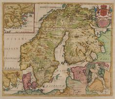 Karta över Skandinavien. A de la Mottraye - gravör: S Parker  Publicerad ca. 1723 (efter förslag av Olof Rudbeck från hans Lapplandsresa 1701 - Laponia Illustrata.)