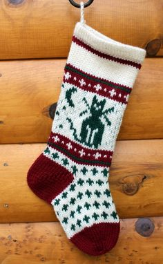 PURCHASED KNIT pattern - Treat your Dog with this delightful Christmas Stocking! The stocking is knit using the Fair Isle, (stranded color work). It also features a fabulous short row heel technique that will have no holes! Knitted Christmas Stocking Patterns, Dog Christmas Stocking, Knitted Christmas Stockings, Christmas Knitting, Christmas Crafts, Christmas Items, Christmas Tables, Nordic Christmas, Christmas Candle